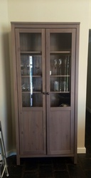 2 door 6 shelve cabinet with glass inserts